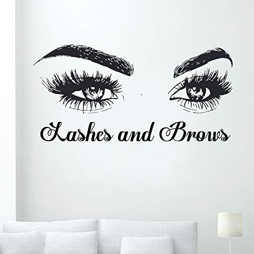 Wimpern und Brauen Vinyl Wandtattoo Wimpernverlängerungen Augenbrauen Wandaufkleber Augen Aufkleber für Mädchen Dekoration Abnehmbare 57 * 28 cm