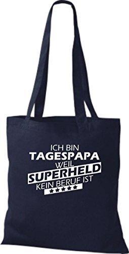 Borsa di stoffa SONO tagespapa, WEIL supereroe NESSUN lavoro è Blu marino