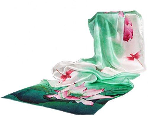 Prettystern - 180 cm foulard donna 100% raso di seta crepe puro bordi arrotolati a mano - fiore di loto - zsc1002