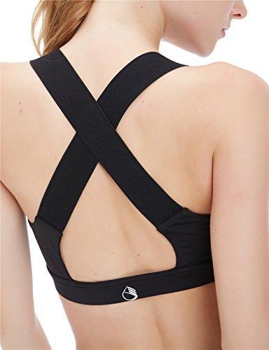icyzone® Damen Sport-BH mit Starker Halt Gepolstert Bustier Stretch Sports Bra Top Fuer Yoga Fitness-Training (M, Black)