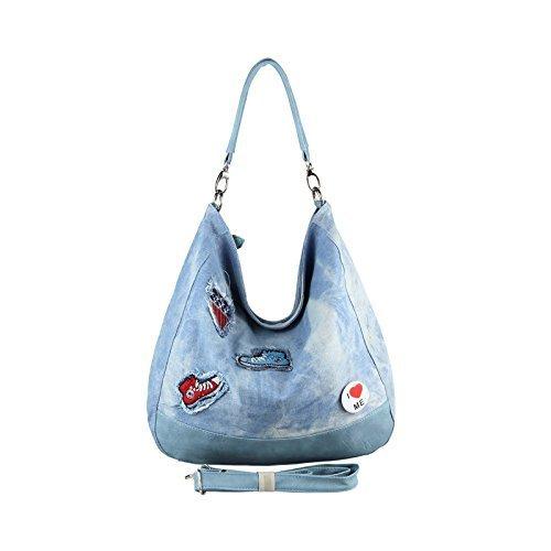 OBC XXL DAMEN JEANS TASCHE Metallic Handtasche Schultertasche Hobo-Bag Kette Henkeltasche Bowling Beuteltasche Shopper CrossOver (Blau 47x36x15 cm) (Denim Hobo)
