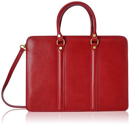 CTM Porta documenti da lavoro da Uomo, Borsa Organizer, 38x27x9cm, Vera pelle 100% Made in Italy Rosso