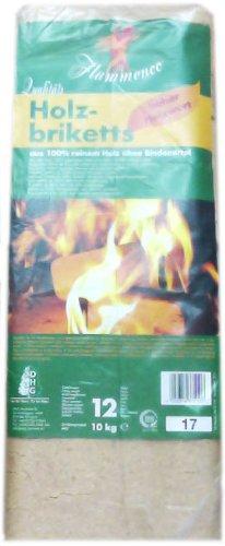 Flammenco 33510 Qualitäts Holzbriketts 10kg (12 Briketts) Kaminbriketts Ofenbriketts - hoher Heizwert!