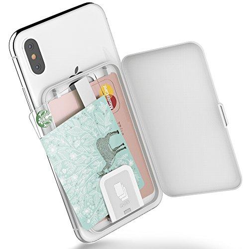 Stick-On-Kartenetui, SINJIMORU-Kartenhalter / Ultra-Slim-Kartenhalter, verwendbar als Brieftasche oder Kartenhalter für den Schreibtisch. Card-Zip, Weiß. (Damen-scheckheft-halter)