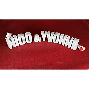 Beton, Steinguss Buchstaben 3D Deko Namen NICO & YVONNE mit Stern und Herzklammer als Geschenk verpackt! Ein ausgefallenes Geschenk zur Geburt, Taufe, Geburtstag oder auch zu anderen Anlässen.