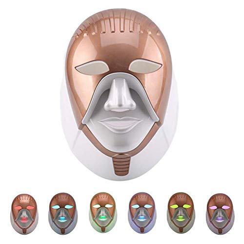 7 Farben LED Photon Maske Lichttherapie Maske LED Gesichtsmaske Lichtbehandlung Gesicht Haut Verjüngungs Hautstraffung Hals Anti Falten Akne Schönheit Maschine Spa Salon Hautpflege Werkzeuge,Gold -