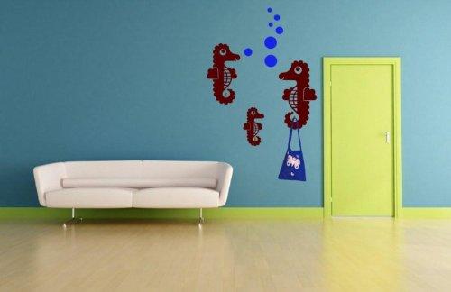 Cavallucci marini con tre ganci Air Bobbles decalcomania/adesivo da parete, Nut Brown/Sapphire Blue, Small: 50cm height of biggest seahorse / 20