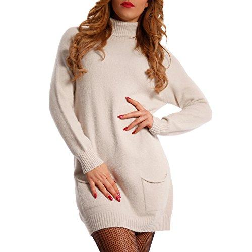 Damen Oversize Strickkleid Long Pullover mit Rollkragen (One Size, Creme)