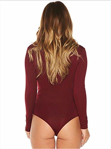 QIYUN.Z Frauen Langarm Tiefem V-Ausschnitt Taille Outfit Bandage Dreieck Overalls Rot
