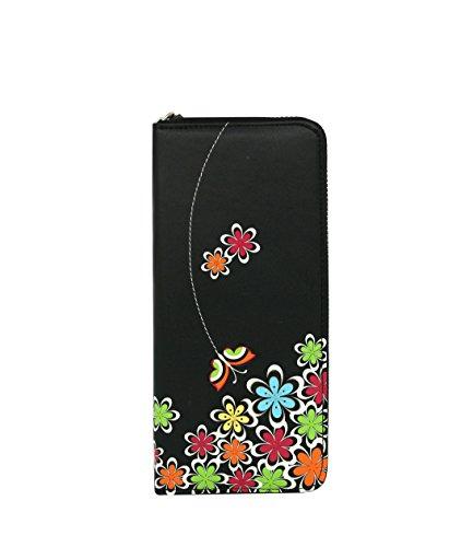 Portfolio moda menkai fiori e farfalle intorno portafoglio borsa interna con cerniera e carta titolare 768w1
