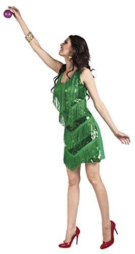 erdbeerloft - Damen Mini Paillettenkleid mit Fransen, Grün, One Size - 2