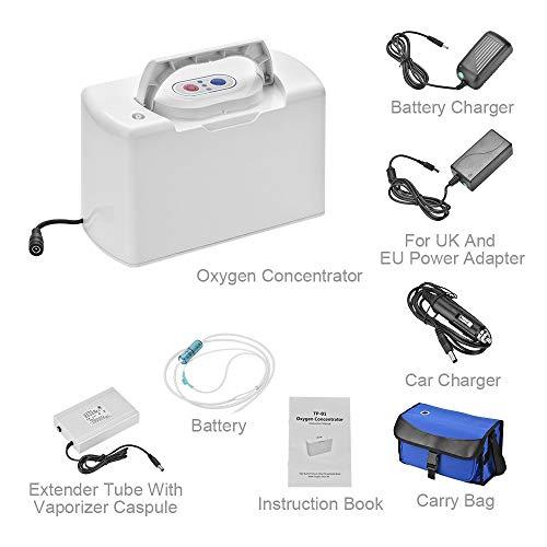 HY generador concentrador de oxígeno portátil 3L/min 30% máquina de oxígeno de pureza, purificador de aire con batería recargable para auto/coche/hogar/viaje -AC 220V~240V (F)