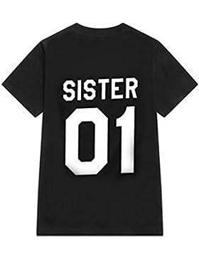 Hibote Couple T-shirt Camiseta Cómoda camisa casuales de manga corta con cuello redondo SISTER 01, BROTHER 01