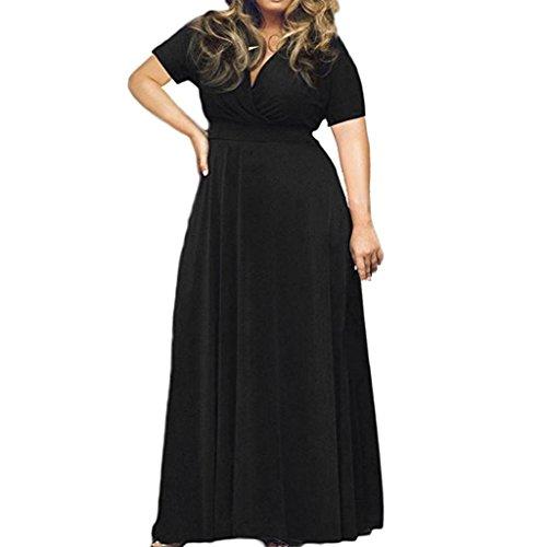Longra plus size abbigliamento da donna abito manica corta tinta unita abito da sera profondo v abito formale taglie forti da cocktail cerimonia partito vestiti lungo elegante vestito maxi
