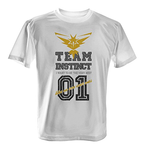 Fashionalarm Herren T-Shirt - Team Instinct I Want To Be The Very Best | Fan Shirt Team Yellow Gelb Poke Go Game Weiß