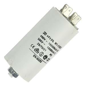 demi-charge condensateur avec prise mâle (moteur condensateur) 20uF 20µF