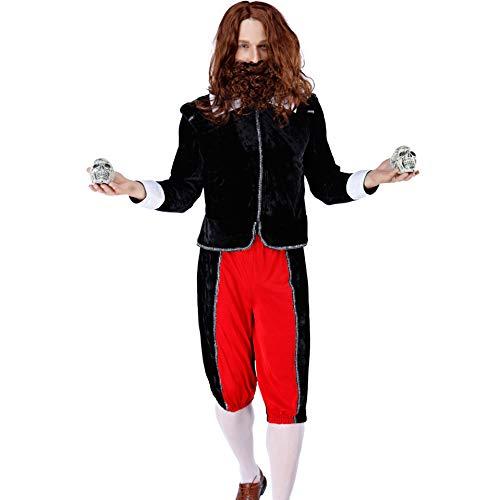 Mann Alter Kostüm Verrückter - Story of life Vampir Tod Kostüm Cosplay Exorzist Verrückter Alter Mann, Prom Party Halloween, Bar Nachtclub Performance Kleidung,Schwarz,M
