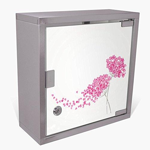 BANJADO Medizinschrank aus Edelstahl / Arzneischrank abschliessbar 30x30x15cm / Erste Hilfe Schrank mit 2 Schlüsseln / Medikamentenschrank...