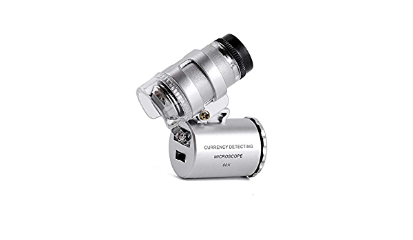 60x Multifunktionale Minilupe Vorsatzlinsen W/ährungsdetektor mit detektorlicht mikroskop digital Lupe mit 2 led licht W/ährungsdetektorlicht Souarts LED Ultraviolet Lichter Lupe Mikroskop