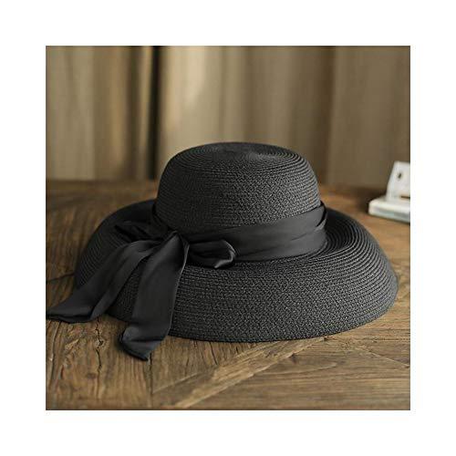 ZXK-HUWAI Damen Sommer Hut Retro Sun Strohhut Glocke Form Bogen-Knoten Breite Krempe Faltbare Einstellbare Sonnenschirm Hut (Farbe : Schwarz)