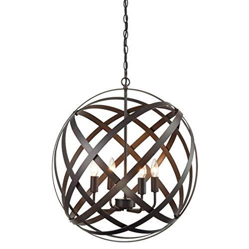 Vier Helle Foyer Lampe (Lquide Industrie-Russet-Achse 4-Light Metal Globe Kandelaber-Anhänger-Leuchter-rustikales kugelförmiges Foyer, das helle Befestigungen hängt)