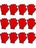 12 Paia Bambino Guanti Bambini da Inverno Guanti a Maglia Guanti per Bambini Ragazzi Ragazze Inverno Usando (L, Rosso)