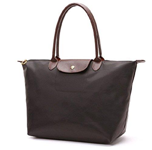 YAAGLE Handtasche Damen Nylon Schultertasche für Shopper Strand Reise Faltbar kaffee