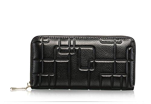Geprägte Leder Schulranzen (Swallowuk Frauen Leder Mappen Karten Mappen Rindleder Leder Geldbeutel mit Reißverschlusstasche (schwarz))