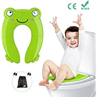Tapa plegable wc para niños, Besfair Asiento de inodoro, Reductor wc niños, Orinal portátil para bebés, con 4 Alfombras Antideslizantes y 2 Soportes Inferiores. Entrenamiento para ir al baño.