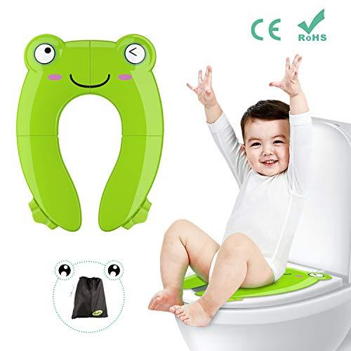 Besfair Kinder Toilettensitz, Faltbarer Toilettentrainer für Unterwegs, Tragbar Reise WC Sitz Kleinkind Töpfchentrainer mit Aufbewahrungstüte und WC Sitzbezüge (Grün)