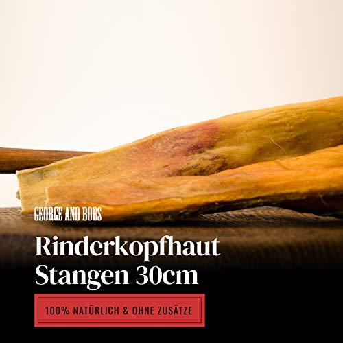 George & Bobs Rinderkopfhaut Stangen 30cm - 1000g   Rinderkopfhautstangen  Rinderkopfhaut   Made in Germany Langer Kauspaß