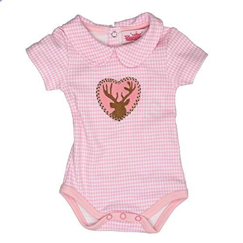 abybody - Body Kurzarm mit Kragen, mit Hirschaplikation für Mädchen in rosa - EIN tolles Geschenk, in Größe 62 ()