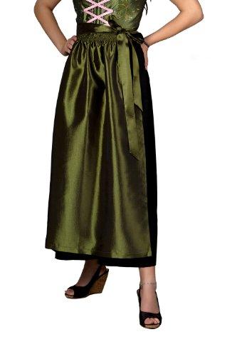 Nanenda Taft lange Dirndlschürze 96 cm Olivia ,oliv