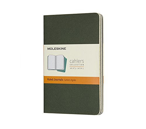 Moleskine Cahier Journal Set 3 Quaderni a Righe, Tascabile, Verde Mirto