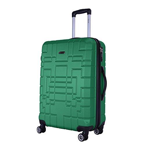 Shaik Serie XANO HKG Design Hartschalen Trolley, Koffer, Reisekoffer, in 3 Größen M/L/XL/Set 50/80/120 Liter, 4 Doppelrollen, TSA Schloss (Mittelgroßer Koffer L, Grün)