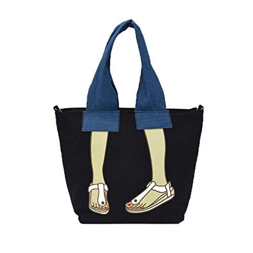 Canvas Borsetta, Donne Canvas Borsetta Borsa Spalla Borsa Messenger Crossbody Bag Tote by Kangrunmy Nero