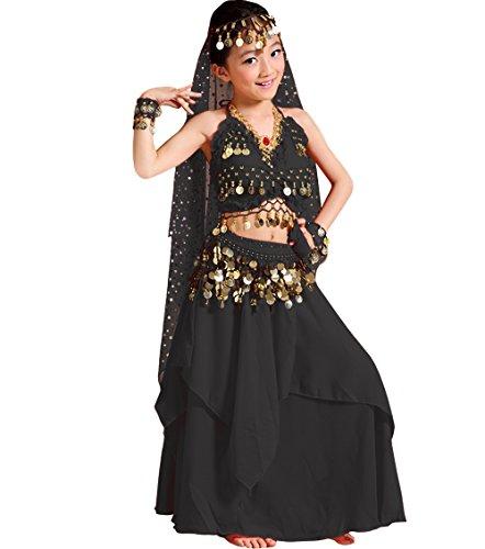 (Astage Mädchen Kleid Kinder Bauchtanz Halloween Karneval Kostüm-Sätze Schwarz L)