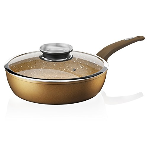 Tower Cerastone Forged Aluminium Saute Pan with Easy Clean Non-Stick Ceramic Coating, 28 cm - Gold