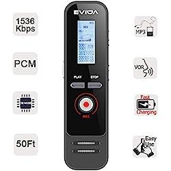 Grabadora de Voz Digital con Carga Rápida de EVIDA,8 GB 580 Horas 1536 Kbps PCM Grabación Activada por Voz 1 Botón Grabación/Guardado Fácil de Configu