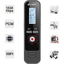 Grabadora de Voz Digital con Carga Rápida de EVIDA,8 GB 580 Horas 1536 Kbps PCM Grabación Activada por Voz 1 Botón Grabación/Guardado Fácil de Configurar Reproductor de MP3 Incorporado