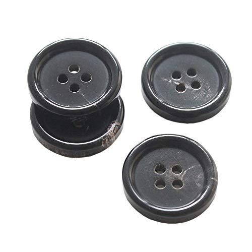 YaHoGa 22 Stück Knöpfe ECHT HORN 20mm 15mm Knöpfe für anzüge jacken mäntel uniform (Schwarze)