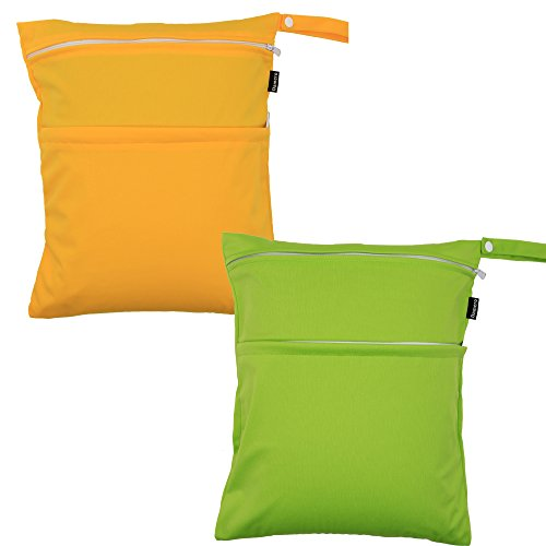 damero-2pcs-pack-cute-travel-baby-wet-and-dry-cloth-diaper-organiser-tote-bag-green-yellow
