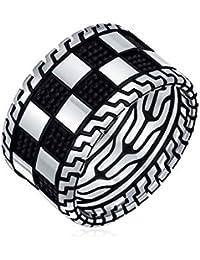 Schwarz Silber Platine Squares Lattice Breite Ringschiene Für Herren Aus Massivem Silber Handgefertigt In Der Türkei
