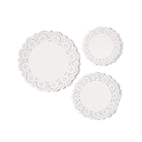 Lvcky 36 Stück weiße Spitzen Papier Tortenpapier Pad, 16,5 cm, 21,6 cm, 26,7 cm (Schwarz Papier Deckchen)
