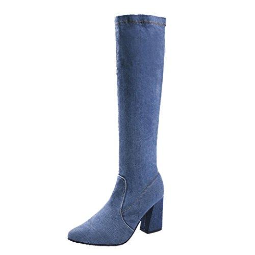 TPulling Herbst Und Winter Schuhe Mode Damen Mit Kniehohen Jeans in Stiefeln Sportschuhe Martin Stiefel (39, Blau)