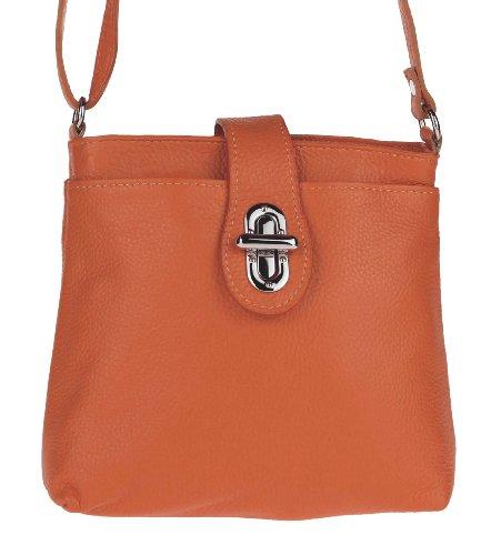 OBC ital. echt Leder Schultertasche Tasche City Bag CrossOver Umhängetasche 23x20x8 cm (BxHxT) Orange