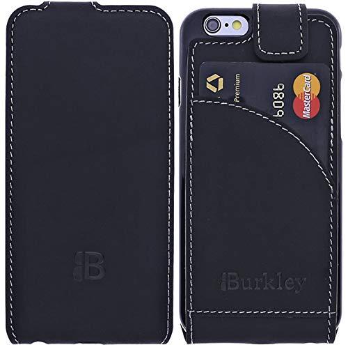 Burkley Lederhülle geeignet für Apple iPhone 6 / 6S Hülle Handyhülle - Schutzhülle Flip Cover Case für das iPhone 6 / 6S mit Kartenfach (Schwarz) - Leder Iphone 6 Vertikal Case