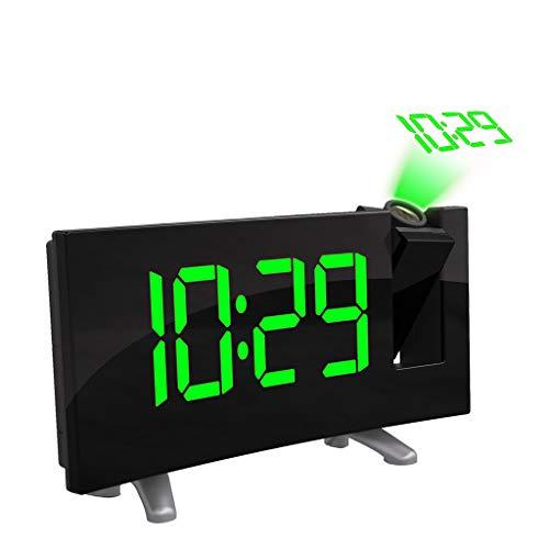 TAOtTAO Projektionslautsprecher Wecker Arc LED Projektions Wecker Moderne Desktop Clock Radio Snooze Dual Alarm (A)