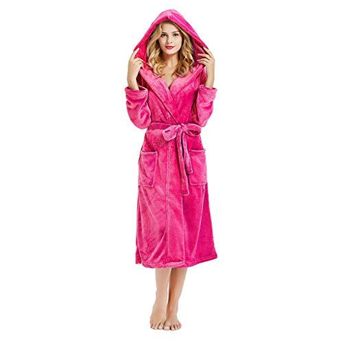 Amphia - Frauen Pyjamas - Spitze/Plüsch/Kapuze - Homewear - Damen Winter HoodedLängeened Plüsch Schal Bademantel Sleepweer Long Sleeved Coat