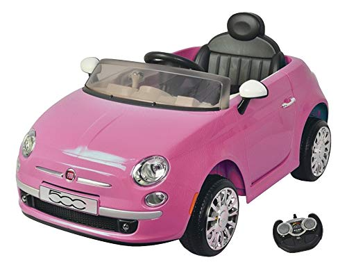 MamaLoes Eco Toys Fiat 500 Kinderelektroauto 2 Sitzer, elektrisches Kinderauto, Kinderfahrzeug, pink, mit Fernbedienung
